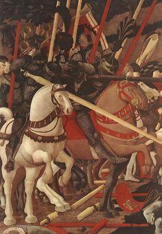 UCCELLO, Paolo Bernardino della Ciarda Thrown Off His Horse (detail) 1450s Tempera on wood Galleria degli Uffizi, Florence