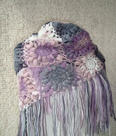 BIG SALE  Pink and Grey  Mohair Triangle by Starknitting on Etsy, $75.00