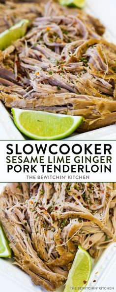Slow cooker Sesame Lime Ginger Pork Tenderloin. This slow cooker dinner recipe is not only keto and Whole30 approved but is an easy weeknight meal for busy families! 6 easy (and clean eating) ingredients that pack a ton of flavor.