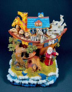 Noah's Ark Figurine Animated Musical Vintage New in Box