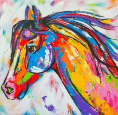 Happy horse www. 5th Grade Art, Horse Drawings, Colorful Animals, Animal Paintings, Horse Paintings, Pastel Paintings, Horse Art, Horse Horse, Arte Pop