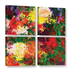 ArtWall Allan Friedlander 'Wisteria And Roses' 4 Piece Gallery-wrapped Canvas Square Set is a stunning reproduction featuring a abstract kaleidoscope of flowers, with all the colors of the rainbow. A beautiful piece to add color to any home or office.