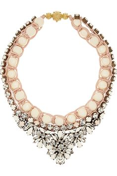 Shourouk Theresa Swarovski Crystal and Faux Pearl Necklace 16 Candy-Colored Necklaces For Spring #refinery29