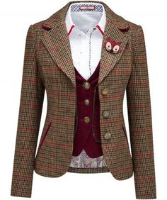 This Funky Fox Jacket is made from a classic tweed and features beautiful velvet details, gorgeous buttons and a detachable funky fox brooch. It& fabulous for so many occasions. Approx Length: Our model is: Shirt and Waistcoat sold separately Look Blazer, Tweed Blazer, Blazer Jacket, Tweed Trousers, Tweed Skirt, Plaid Jacket, Preppy Style, My Style, Curvy Style