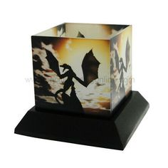 PTC 5 Inch Wyvern's Wake Silhouettes Square Candle Holder Yellow #candle #holders #accessories (ebay link) Glass Hurricane Lamps, Glass Candle, Candle Lamp, Silhouette Artist, Cool Silhouettes, Square Candles, Magical Creatures, Tea Lights, Candle Holders