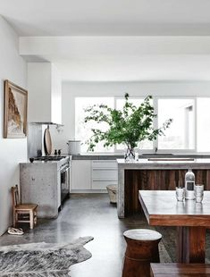 Rustic Australian Farm with concrete & wood kitchen via Homelife(photography by Lisa Cohen)
