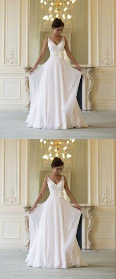 Deep V Neck Sleeveless Cheap Wedding Gowns,A Line Floor Length Beach Wedding Dress W90 Wedding Gowns, Cheap Wedding Dress, Beach Wedding Dress, Formal Dress, Bridesmaid Dress, Simple Wedding Dress.