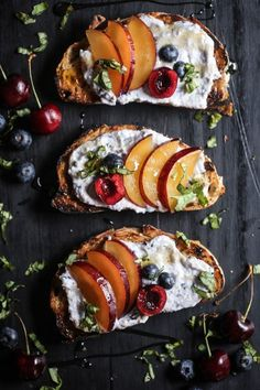 9 Ricotta Toast Recipes That Will Make You Forget All About Avocados Cherry & Plum Toast with Blueberry Whipped Ricotta Antipasto, Ricotta, Plum Recipes, Breakfast Desayunos, Avocado, Food Porn, Tasty, Yummy Food, Cooking Recipes