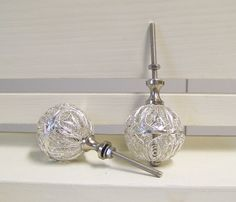 Decorative Silver Dresser Drawer KnobsCabinet by ShabbrusticChic, $8.50