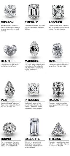 Looking for diamond jewelry? Know more about diamond cuts. The cut does not only refers to the shape but also the way the diamond reflects light. Engagement Ring Cuts, Wedding Engagement, Wedding Tips, Wedding Planning, Solitaire Engagement, Wedding Ring Guide, Trendy Wedding, Gold Wedding, Wedding Venues