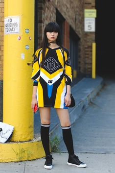 This Year, NYFW Street Style Is All About Minimalism motocross inspired sports dress worn back with knee highs & casual sneakers Summer Fashion Outfits, Sport Fashion, Sport Outfits, Trendy Fashion, Casual Outfits, Fashion Trends, Fashion Clothes, Style Clothes, Style Fashion