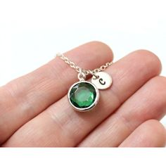 Emerald Necklace Stone, Emerald Necklace, Initial Necklace,... ($15) ❤ liked on Polyvore featuring jewelry, necklaces, birthstone necklace, letter necklace, emerald jewelry, letter jewelry and stone flower necklace