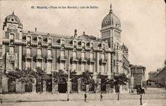 Plaza de San Marcial (actual Plaza de España) y Calle de Bailén, anterior a 1910. J. Lacoste. Tarjeta postal. Museo de Historia (Madrid)