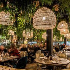 how to design Outdoor Restaurant Design, Decoration Restaurant, Deco Restaurant, Cafe Bar, Cafe Design, House Design, Bed Design, Deco Jungle, Basket Lighting