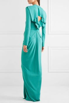 Roland Mouret - Compeyson Open-back Stretch-crepe Gown - Turquoise - UK14