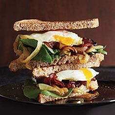 Bacon and Egg Sandwiches with Caramelized Onions and Arugula | CookingLight.com