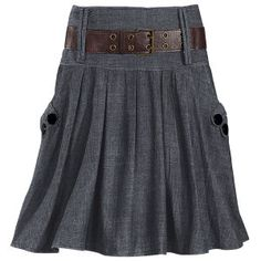 I like the masculine and tailored touches to this skirt, the dark black buttons, the broad leather belt, and the rough pattern weave of the denim. Pair with a pretty soft floral top, or a simple white button up, and it's an every day outfit that seems dressed up :) From pyramidcollection.com