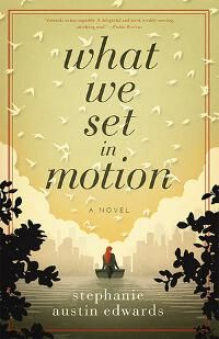 What We Set in Motion designed by James T. Egan of Bookfly Design | JF: It's not easy to achieve the beautiful balance of this cover, with its carefully set type and simple illustration style. Focused and calm, yet with a clear line into the novel's story. ★