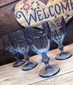 Set of 4 (FOUR) Stunning Libbey Duratuff MISTY BLUE Gibraltar -Water Goblets, retro dinnerware, weddings, elegant tablescape Liberty Blue, Elegant Table Settings, Dining Room Table Decor, Candlestick Holders, Vintage Love, Tablescapes, Dinnerware, Retro, Boho Wedding