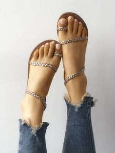 Solid Toe Ring Braided Strap Flat Sandals New Arrival Bikinis, Jumpsuits, Dresses, Tops, High Heels on Sale. Toe Ring Sandals, Sandals Outfit, Toe Rings, Flat Sandals, Shoes Sandals, Wrap Shoes, Strappy Shoes, Heeled Sandals, Gladiator Sandals