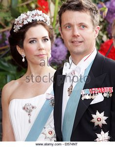 Danish Crown Princess Mary and Crown Prince Frederik  attend a special gala show at the Royal Theatre in Copenhagen, Denmark, 15 April 2010, in honor of Danish Queen Margrethe who will celebrate her 70th birthday on 16 April. Photo: Albert Nieboer (NETHERLANDS OUT) - Stock Image