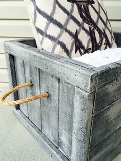 Large rustic crate, painted in AS Graphite, dry brushed with Paris Grey, and added nautical rope handles   ~The Decor Vault~ www.facebook.com/thedecorvault