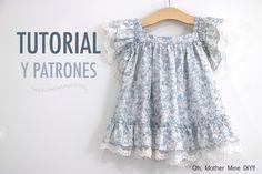 Costura: Vestido para niñas con volantes y encaje (Patrones gratis tallas hasta 7 años)