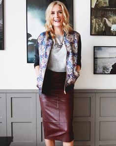 floral bomber, statement necklace, leather skirt