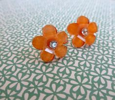Beautiful Bloom Flower Post Earrings Orange by Stephsjewels4ella, $6.00