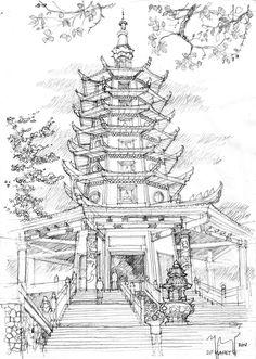Pagoda Semarang Pencil Sketch