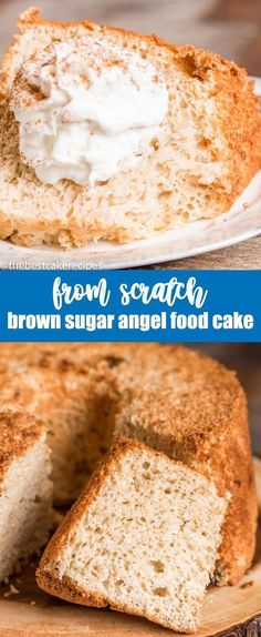 Homemade angel food cake with brown sugar flavor. This from scratch brown sugar angel food cake is best served with cinnamon spice whipped cream. via @thebestcakerecipes