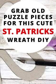 Check out this quick and easy St. Patrick's dollar store wreath idea made with old puzzle pieces. Fun St. Patricks kids craft wreath idea on a budget. Find out how to make a shamrock wreath for kids. Desk Chair Makeover, Door Makeover, Diy Essential Oil Diffuser, Growing Sweet Peas, Dresser Refinish, Paper Bag Album, Old Wallpaper, How To Make Curtains, Diy Door