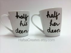 Items similar to Muslim Wedding Gift Set, islamic wedding gift, Islam mug Half his/her Deen, Half His Deen and Half her Deen Mug Set - on Etsy Muslim Wedding Ceremony, Our Wedding, Bridal Gifts, Wedding Gifts, African Wedding Theme, Henna Candles, Eid Crafts, Islamic Gifts, Mugs Set