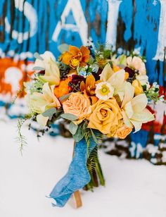 orange + blue bouquet inspired by copper