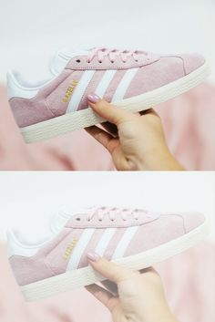 Adidas Gazelle trainers in wonder pink with free UK delivery. Pastel Shoes, Powder Pink, Adidas Gazelle, Baby Blue, Trainers, Sportswear, Adidas Sneakers, Feels, Fashion