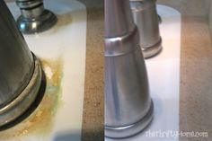 Soak paper towels in vinegar and wrap around faucets. Wait an hour and wipe off. Ah ha!