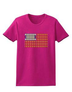 American Breakfast Flag - Bacon and Eggs Womens Dark T-Shirt