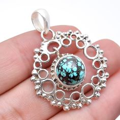 925 Sterling Silver Jewelry Natural Tibetan Turquoise Handmade Pendant #Handmade