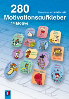 280 Motivationsaufkleber - 14 Motive ++ Organisationshilfe für Lehrer und Schüler an Grundschulen, Klasse 1-4 ++ #Aufkleber #Belohnung #Motivation #Anfangsunterricht #Grundschule