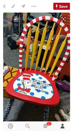 40 Top Diy Painted Chair Designs Ideas Try - cute ideas - Chair Design Hand Painted Chairs, Hand Painted Furniture, Funky Furniture, Pipe Furniture, Upcycled Furniture, Painted Stools, Furniture Makeover, Furniture Decor, Painted Teacher Chair