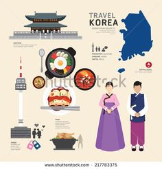 Korea Flat Icons Design Travel Concept.Vector - stock vector
