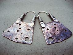 Soul Seed Hoop Earrings Long Rustic BohoTribal by SilviasCreations, $79.00