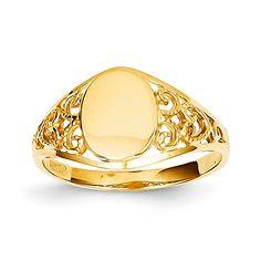 14k Yellow Gold Oval Filigree Women's Signet Ring. Metal Wt- 1.96g