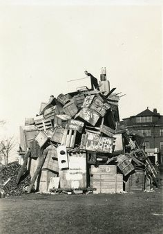 Homecoming 1926 found Beloit students scouring the community for discarded items in order to construct their traditional sky-high bonfire