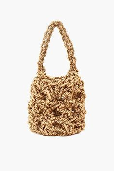 The Rejina Pyo Sylvia Woven Bag Natural is a handcrafted twisted satin bucket bag in larger size. Diy Crochet Rug, Creative Bag, Diy Handbag, Macrame Bag, Beaded Bags, Woven Bags, Basket Bag, Knitted Bags, Crochet Bags