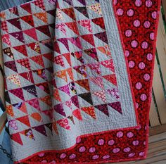 Half square triangle quilt by Caroline at trillium - love the colours, love the layout, love the backing