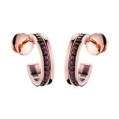 FOLLIES QUATRE ARGOLLAS  Pendientes de aro en oro rosa y oro Boucheron    Quatre existe en una versión de aretes con un diseño de dos anillos, inspirado en los motivos emblemáticos de la Maison Boucheron.