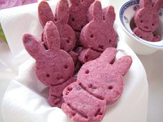 Foodiva's Kitchen: Purple Sweet Potato Bunny Cookies  Ingredients:  2 cups all-purpose flour  1/4 teaspoon salt  1/4 teaspoon nutmeg powder  5 oz butter, at room temperature  1/2 cup sugar  1 teaspoon vanilla extract  1/2 cup cooked (steamed or boiled) and mashed purple sweet potato