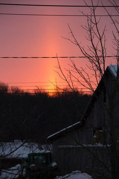Gorgeous sunrise provided a sun pillar!