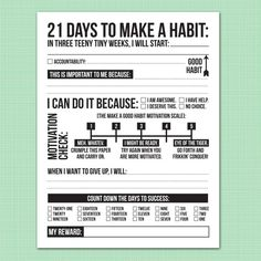 21 days to make a good habit: printable pdf sheet motivation checklist Bulletins, Mental Training, Therapy Tools, Good Habits, Healthy Habits, I Can Do It, School Counselor, Fitness Workouts, Social Work